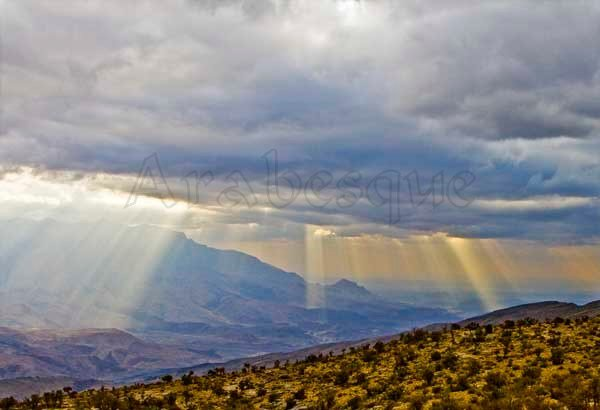 Shafts of Sunlight in Omans Mountains