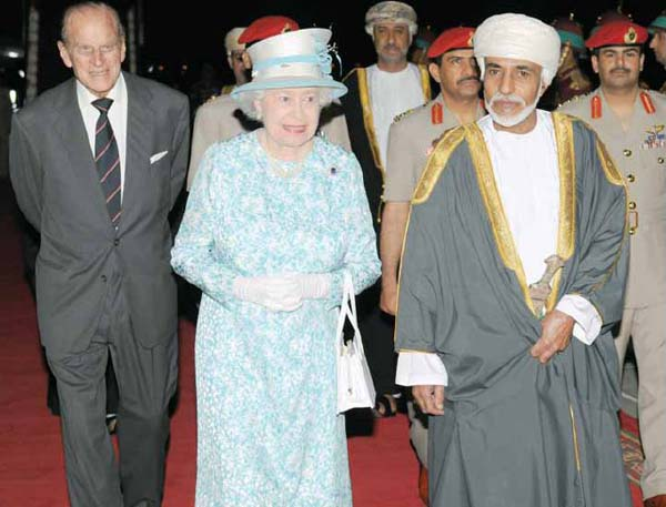 Queen Elizabeth and Prince Philip are welcomed by Sultan Qaboos