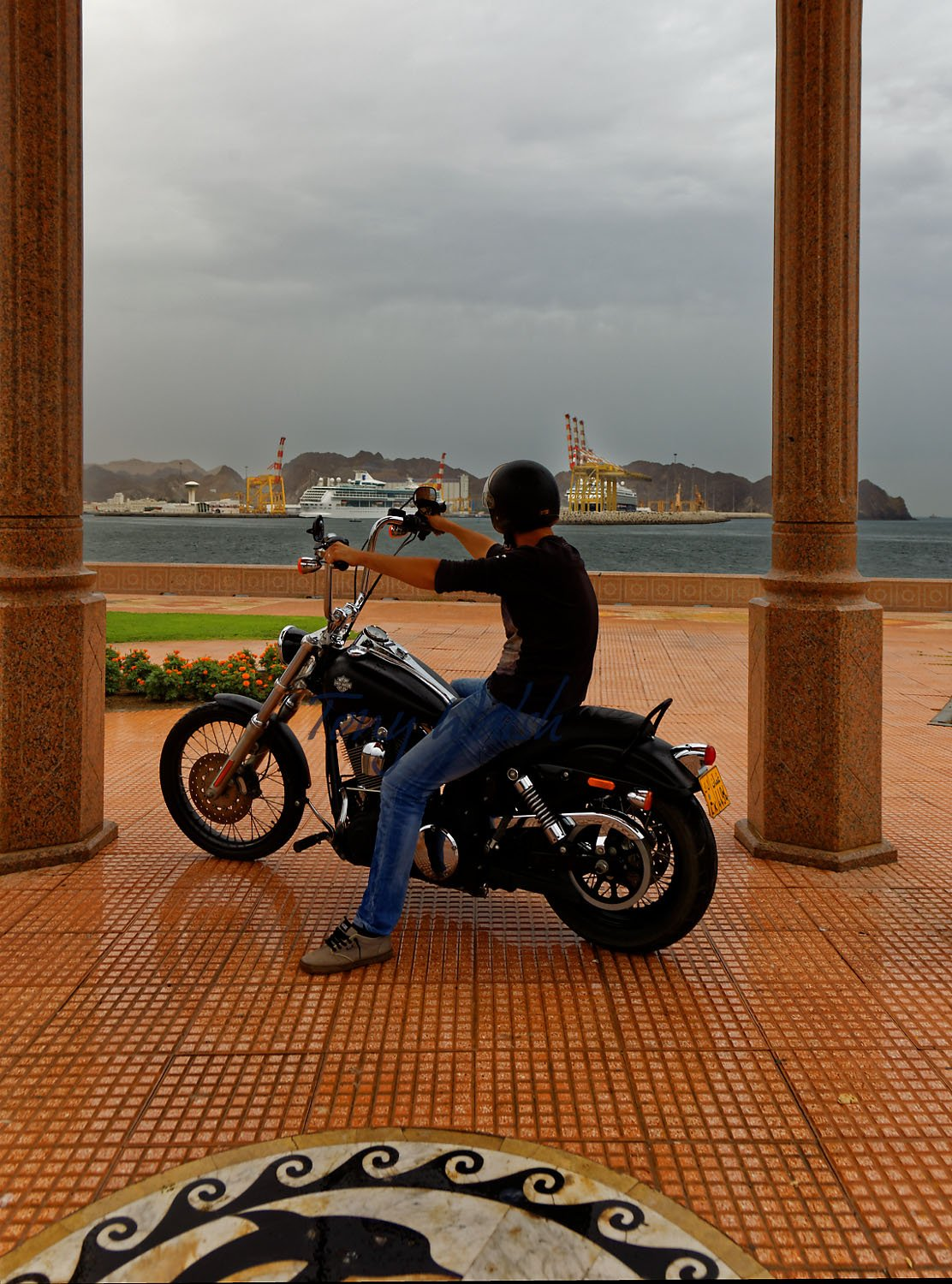 Yelmer on his Harley in Muttrah