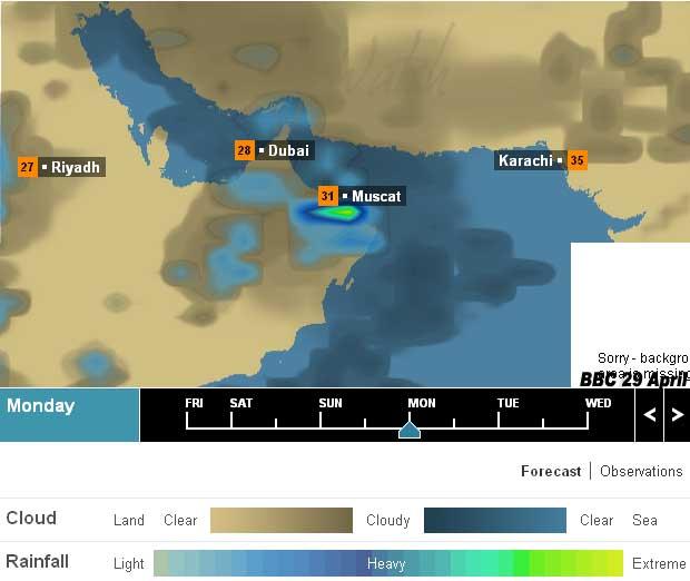 Weather Forecast Monday 29 April